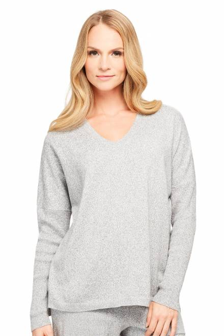 Fleur't Cashmere Bliss V-Neck Sweater With Rib Sleeves