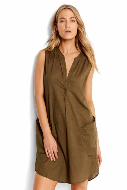 Seafolly Pacifico BEACH BASICS SLEEVELESS BEACH SHIRT